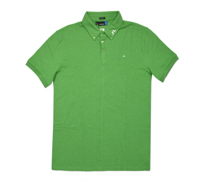 J. LINDEBERG RUBI BUTTON DOWN TOUR PIQUE POLO GREEN MELANGE - SS16