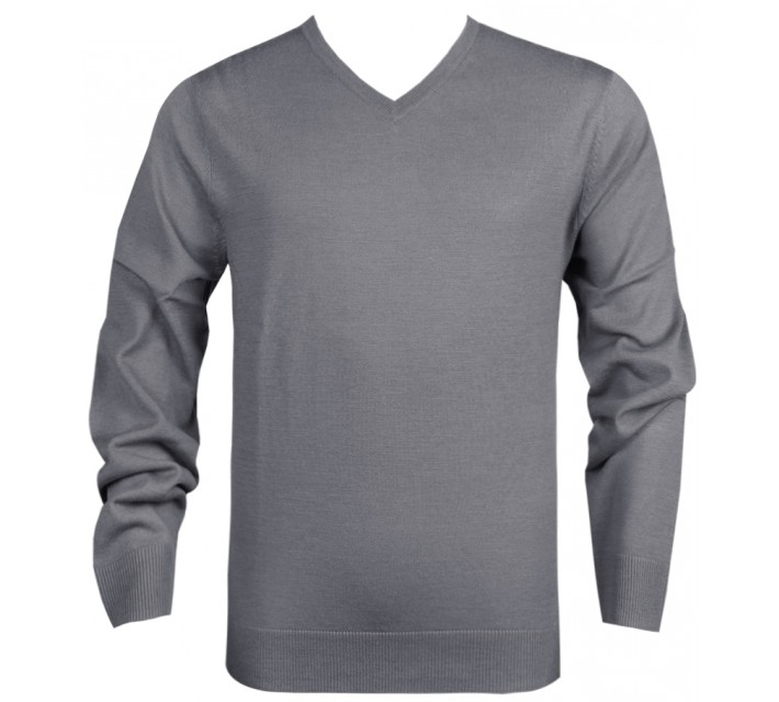 DUNNING MERINO V NECK SWEATER CHARCOAL - SS16