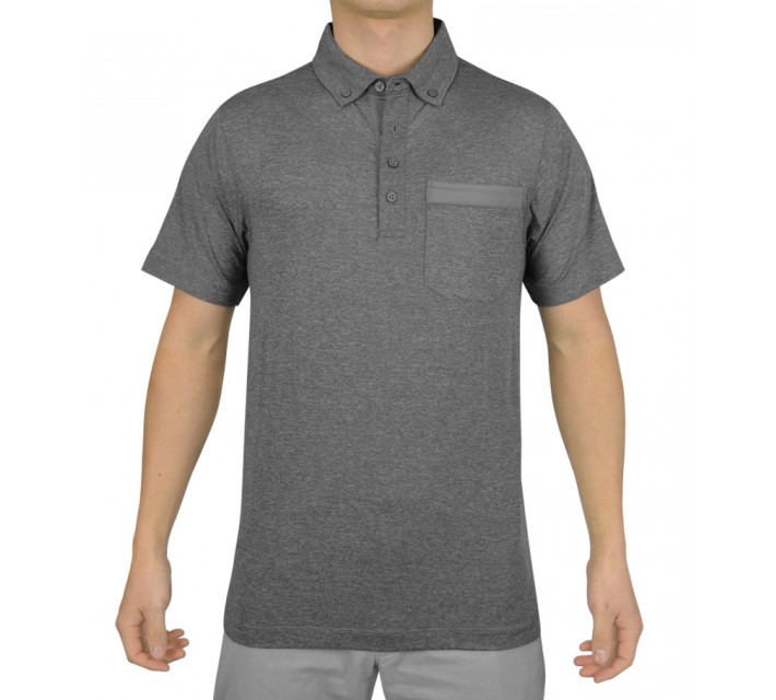 MATTE GREY SARGE FORMAL GOLF POLO CHARCOAL HEATHER - SS15