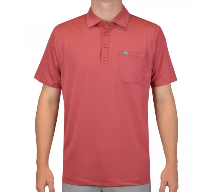 MATTE GREY SARGE FORMAL POLO DEEP SCARLET - SS15
