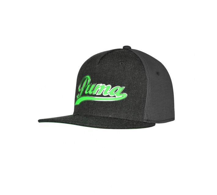 PUMA JUNIOR BOYS SCRIPT SNAPBACK CAP DARK GRAY HEATHER/GREEN GECKO - SS16