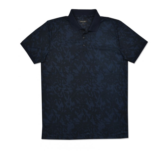 WOLSEY CASSIS SHADOW PRINT POLO TOTAL ECLIPSE - SS16