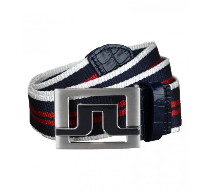 J. LINDEBERG SLATER 40 STRIPED WEBBING BELT NAVY/PURPLE - AW15