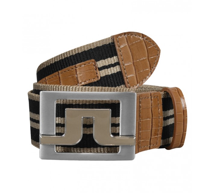 J. LINDEBERG SLATER 40 STRIPED WEBBING BELT LT BROWN - SS15