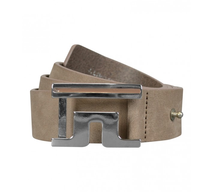 J. LINDEBERG SLOPER 2.0 BRUSHED LEATHER BELT LT BROWN - SS15