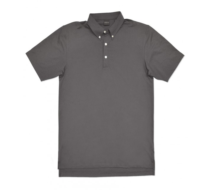 DUNNING STRETCH JERSEY BUTTON DOWN POLO CHARCOAL - AW16