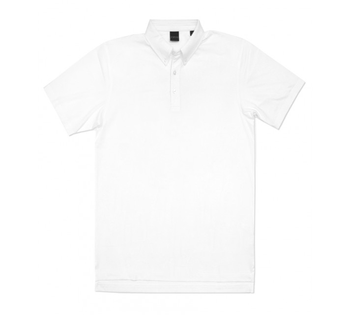 DUNNING STRETCH JERSEY BUTTON DOWN POLO WHITE - AW16