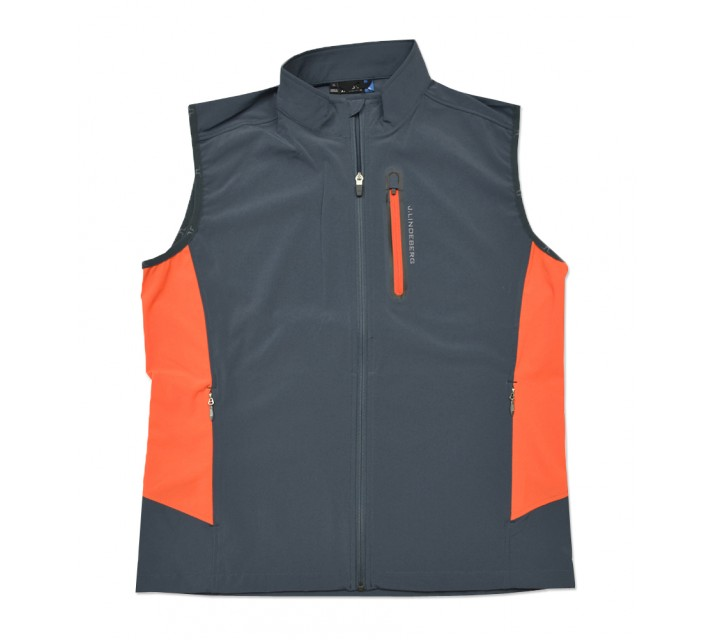 J. LINDEBERG STRETCH VEST SOFT SHELL DARK GREY - SS16