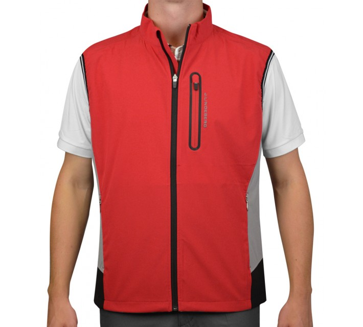 J. LINDEBERG STRETCH VEST SOFT SHELL RED INTENSE - AW15