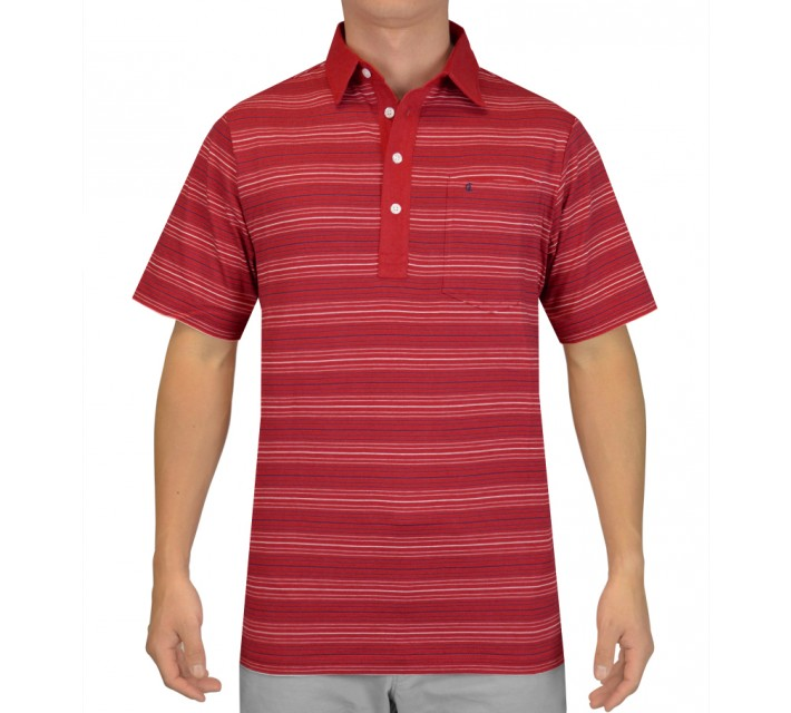 CRIQUET VINTAGE STRIPE PLAYERS SHIRT RED - AW15