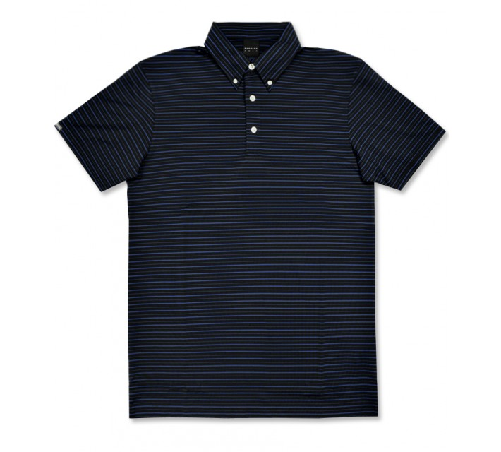 DUNNING STRIPED JERSEY BUTTON DOWN POLO BLACK/SINTRA - AW16