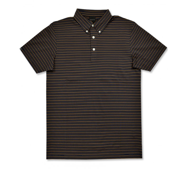 DUNNING STRIPED JERSEY BUTTON DOWN POLO HALO/MONICO - AW16