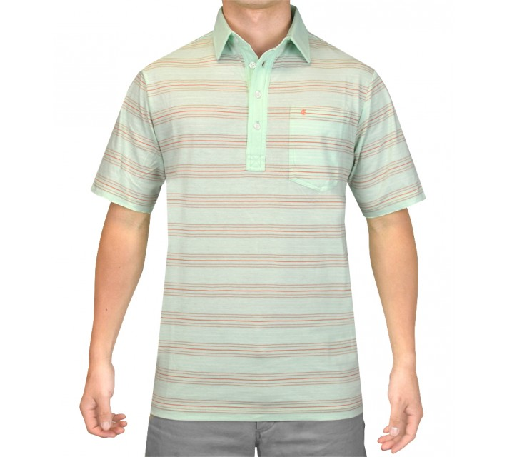 CRIQUET VINTAGE STRIPE PLAYERS SHIRT COOL GREEN - SS15