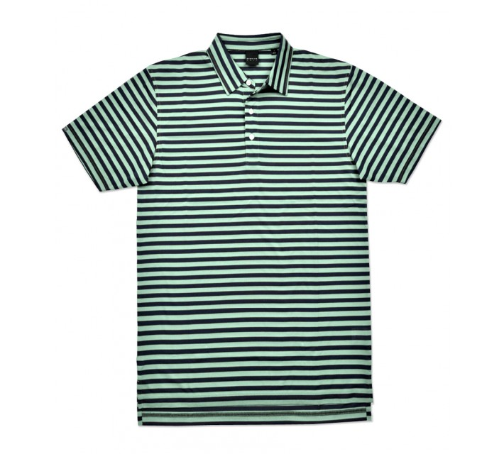 DUNNING STRIPE PIQUE JERSEY POLO BEACH GLASS/HALO - SS16