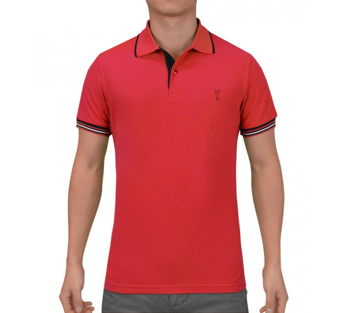 GOLFINO EXTRA DRY STRIPED RIB POLO IMPERIAL RED - SS15