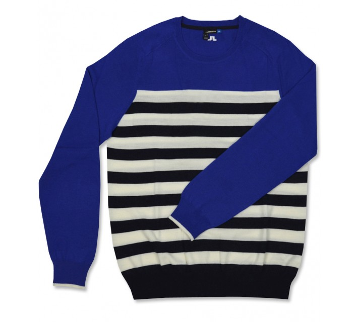 J. LINDEBERG STRIPED SWEATER STRONG BLUE - AW16
