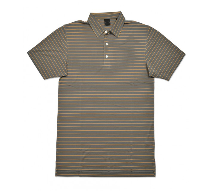 DUNNING STRIPE YD PIQUE POLO CHARCOAL/HAWI - SS16