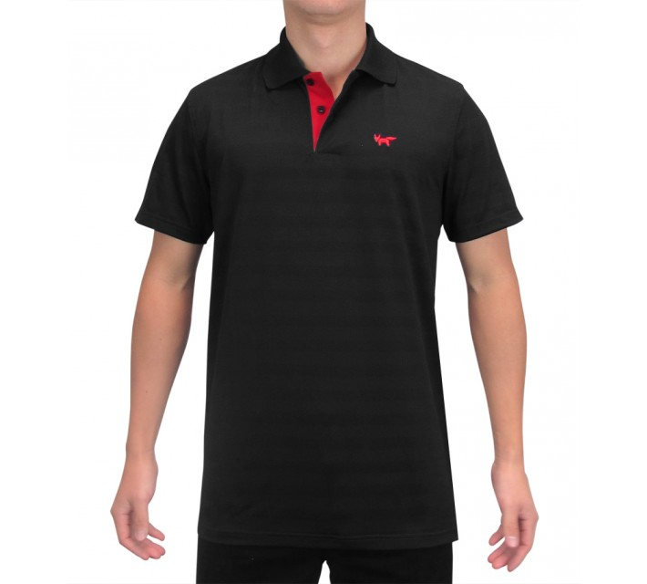 WOLSEY THERMOCOOL TWO BUTTON TEXTURED STRIPED POLO TRUE BLACK - SS15