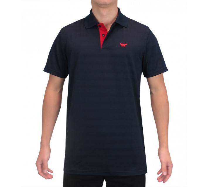 WOLSEY THERMOCOOL TWO BUTTON TEXTURED STRIPED POLO TOTAL ECLIPSE - SS15