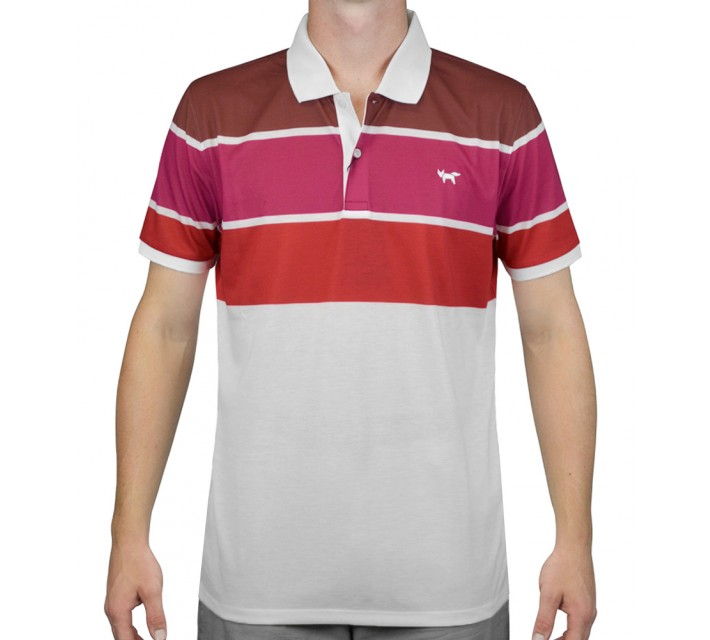 WOLSEY THREE COLOR STRIPE POLO JET BORDEAUX - AW15