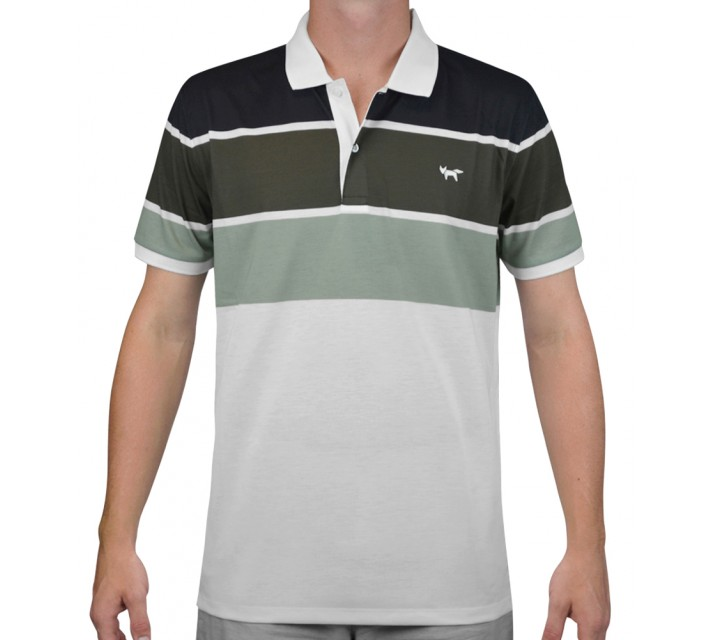 WOLSEY THREE COLOR STRIPE POLO JET BLACK - AW15