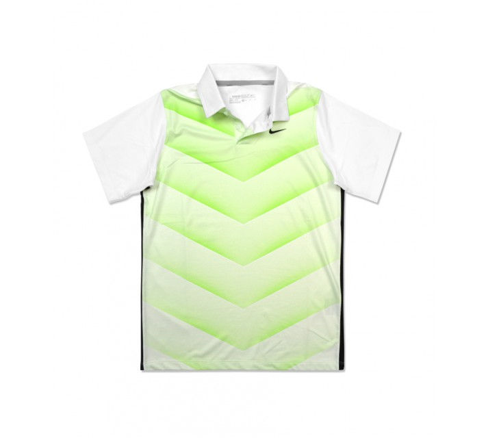 NIKE BOYS TIGER WOODS 26 DEGREE FADE POLO WHITE/ACTION GREEN - SS16 CLOSEOUT