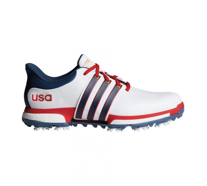 ADIDAS TOUR360 BOOST SHOE WHITE/MINERAL BLUE/SCARLET - AW16