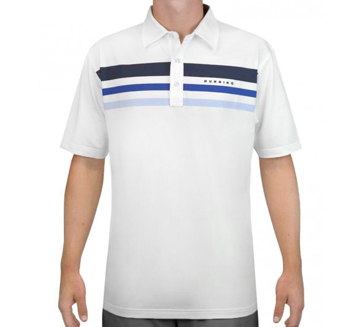 DUNNING STRETCH TRINITY STRIPE JERSEY POLO WHITE - AW15