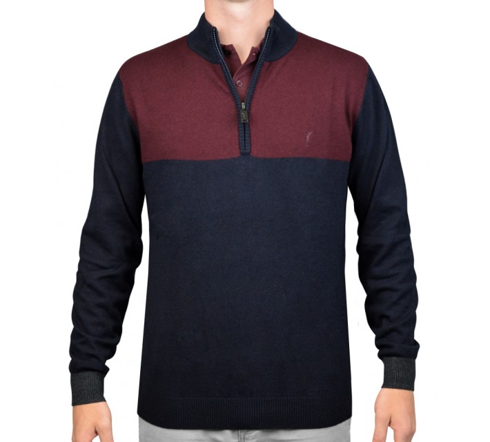 GOLFINO EXTRA FINE TROYER 1/4 ZIP SWEATER NAVY - AW15