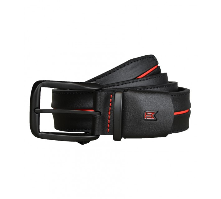TIGER WOODS STRIPE BELT BLACK/BRIGHT CRIMSON - AW16