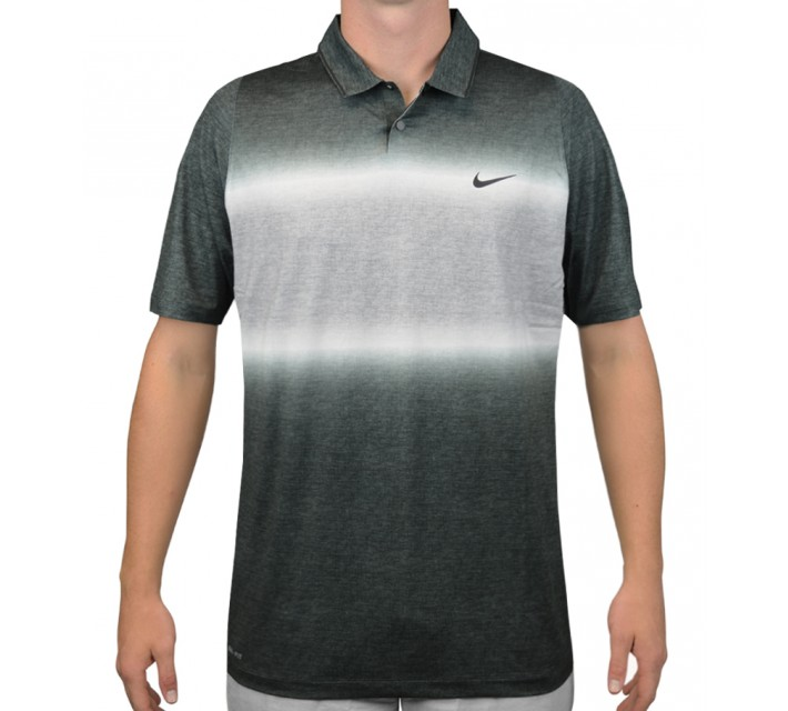 TIGER WOODS VELOCITY GLOW STRIPE POLO BLACK/COOL GREY - AW15 CLOSEOUT