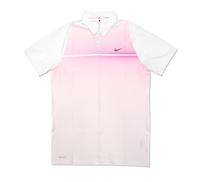 TIGER WOODS VELOCITY MAX HYPERCOOL PRINT POLO WHITE/HYPER PINK - SS16 CLOSEOUT