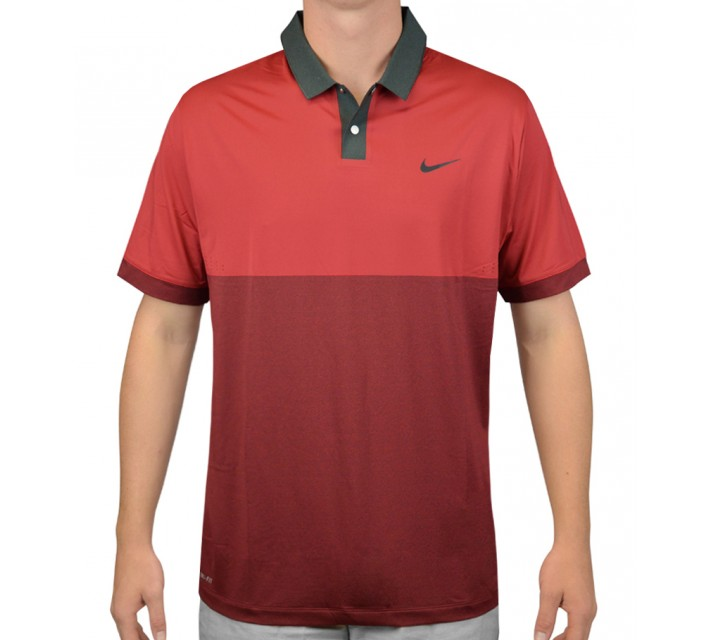 TIGER WOODS VELOCITY JACQUARD POLO GYM RED/ANTHRACITE - AW15 CLOSEOUT