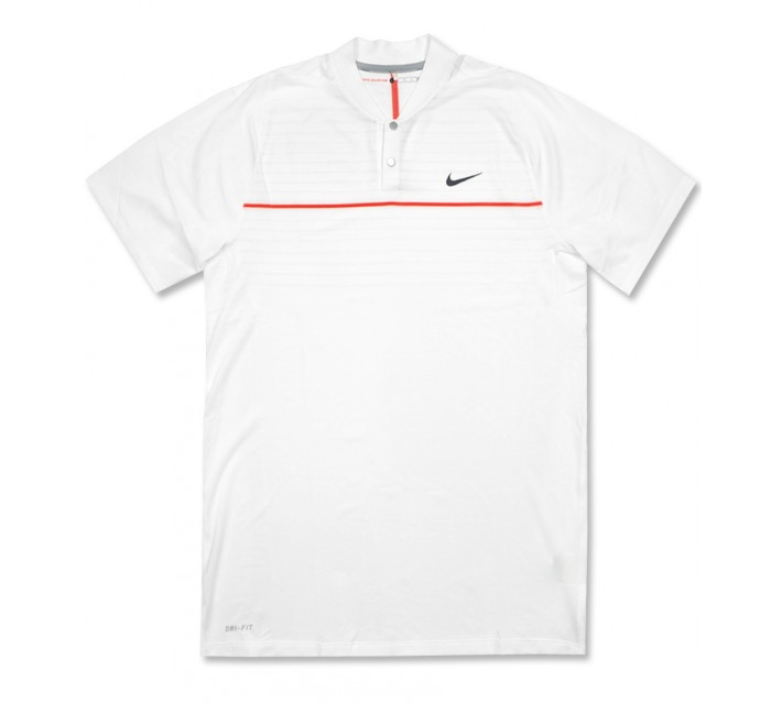 TIGER WOODS VELOCITY MAX SWING KNIT STRIPE POLO WHITE - AW16 CLOSEOUT