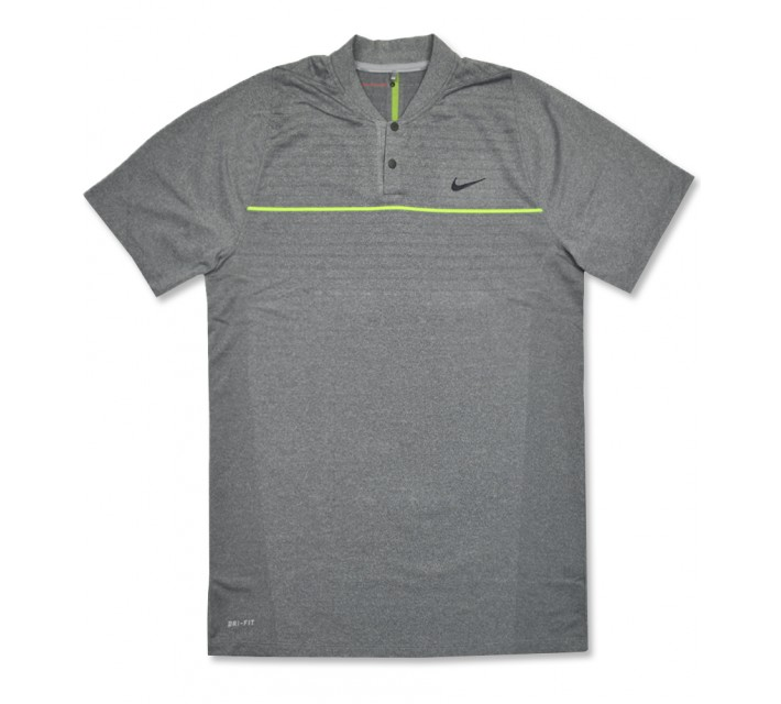 TIGER WOODS VELOCITY MAX SWING KNIT STRIPE POLO WOLF GREY - AW16