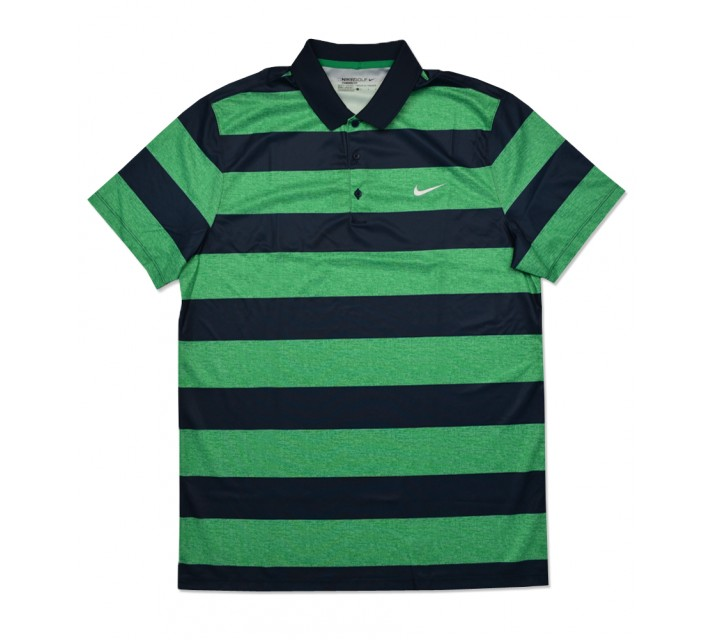 NIKE GOLF VICTORY BOLD STRIPE POLO LUCID GREEN/MIDNIGHT NAVY - SS16 CLOSEOUT