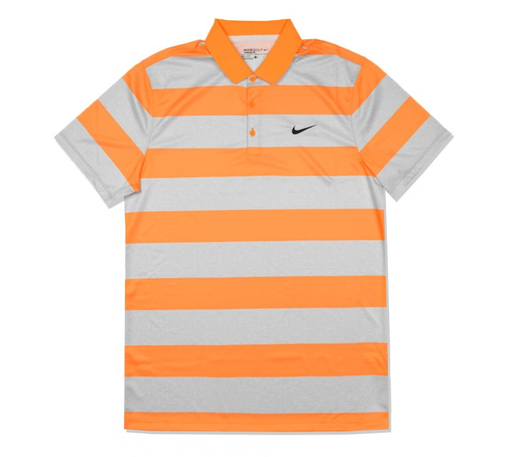 NIKE GOLF VICTORY BOLD STRIPE POLO VIVID ORANGE - SS16 CLOSEOUT