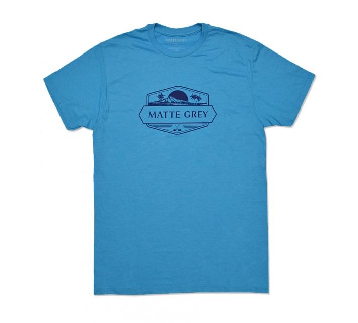 MATTE GREY WEEKENDER T-SHIRT BAJA BLUE HEATHER - SS16