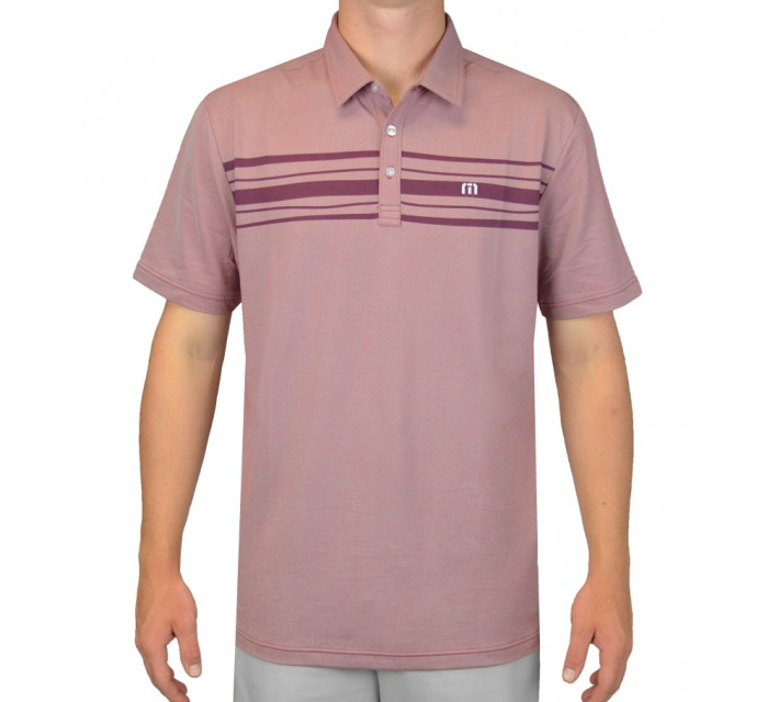 TRAVISMATHEW GOLF SHIRT WILLOW HEATHER CARDINAL - AW15