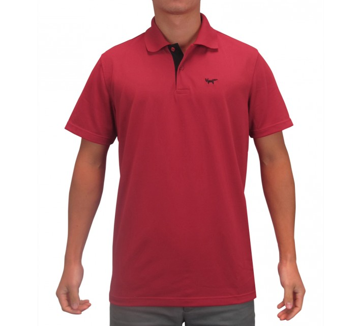 WOLSEY THERMOCOOL TWO BUTTON PIQUE POLO CHILI PEPPER - SS15