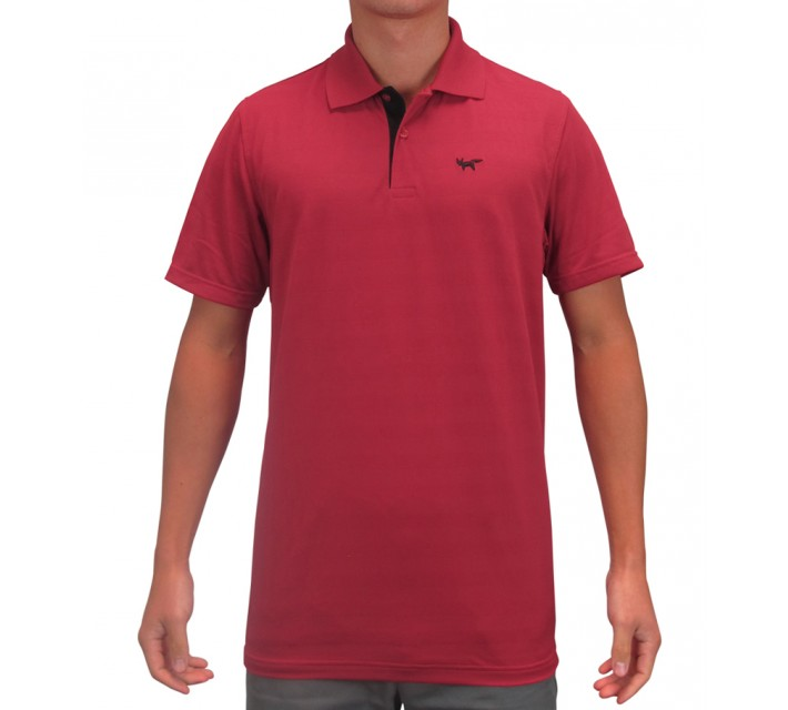WOLSEY THERMOCOOL TWO BUTTON TEXTURED STRIPED POLO CHILI PEPPER - SS15