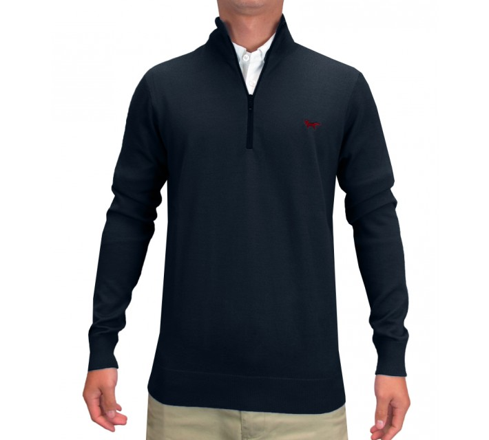WOLSEY PLAIN KNIT 1/2 ZIP PULLOVER TOTAL ECLIPSE - SS15