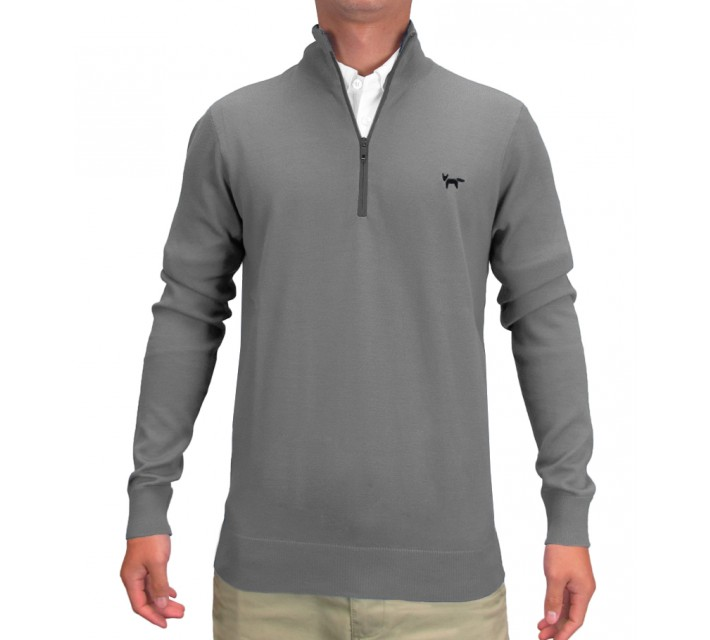 WOLSEY PLAIN KNIT 1/2 ZIP PULLOVER GRIFFIN - SS15