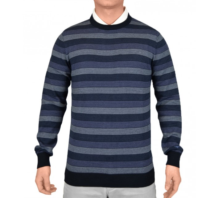 WOLSEY STRIPED CREW NECK PULLOVER COASTAL FJORD - SS15