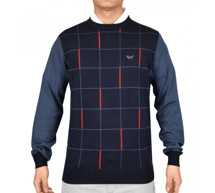 WOLSEY GRID PANEL CREW NECK SWEATER TOTAL ECLIPSE - SS15