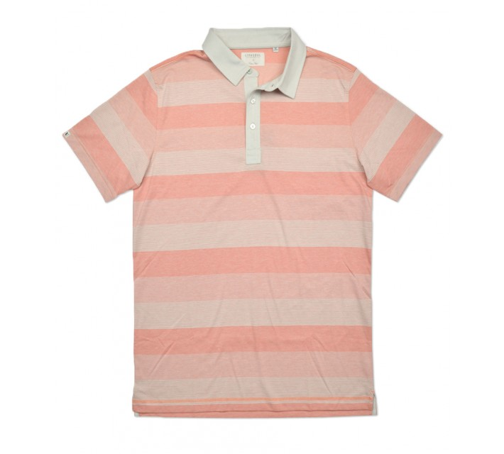 LINKSOUL INNOSOFT COTTON YD STRIPE POLO PERSIMMON - SS16