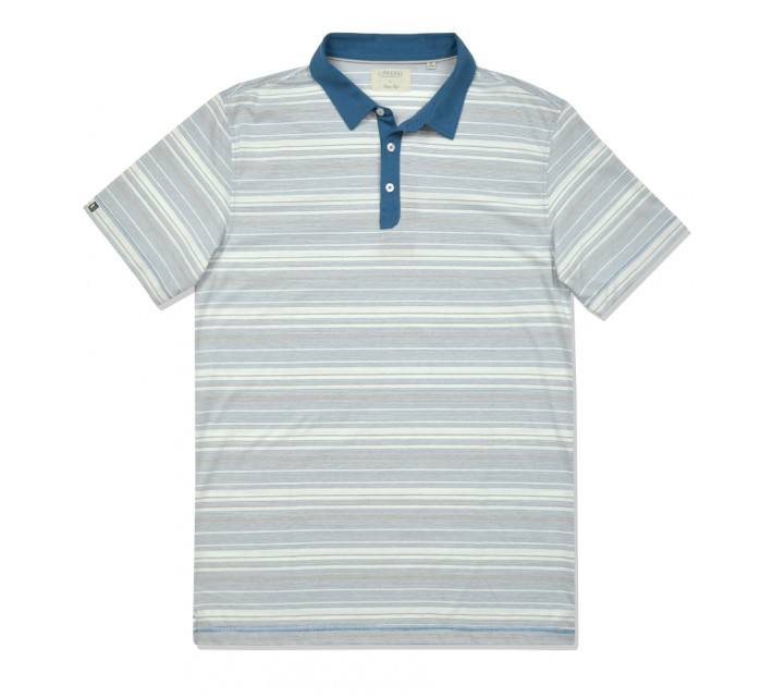 LINKSOUL INNOSOFT COTTON YD STRIPE POLO TEAL - SS16