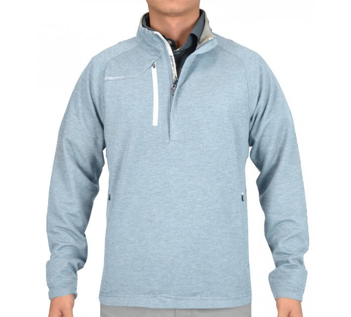 ZERO RESTRICTION Z525 1/4 ZIP PULLOVER CHAMBRAY HEATHER - SS15