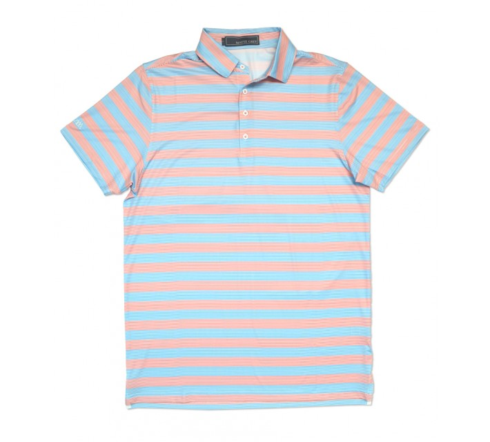 MATTE GREY ZIPPER GOLF POLO WHITE/PEACH/BAJA BLUE - SS16