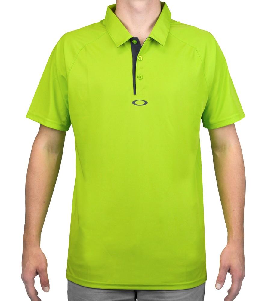 Oakley green golf shirt for Mens lime green polo shirt